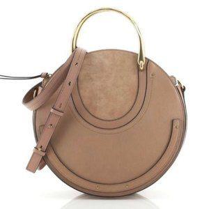 Chloé Pixie Large Round Ecru Suede Leather